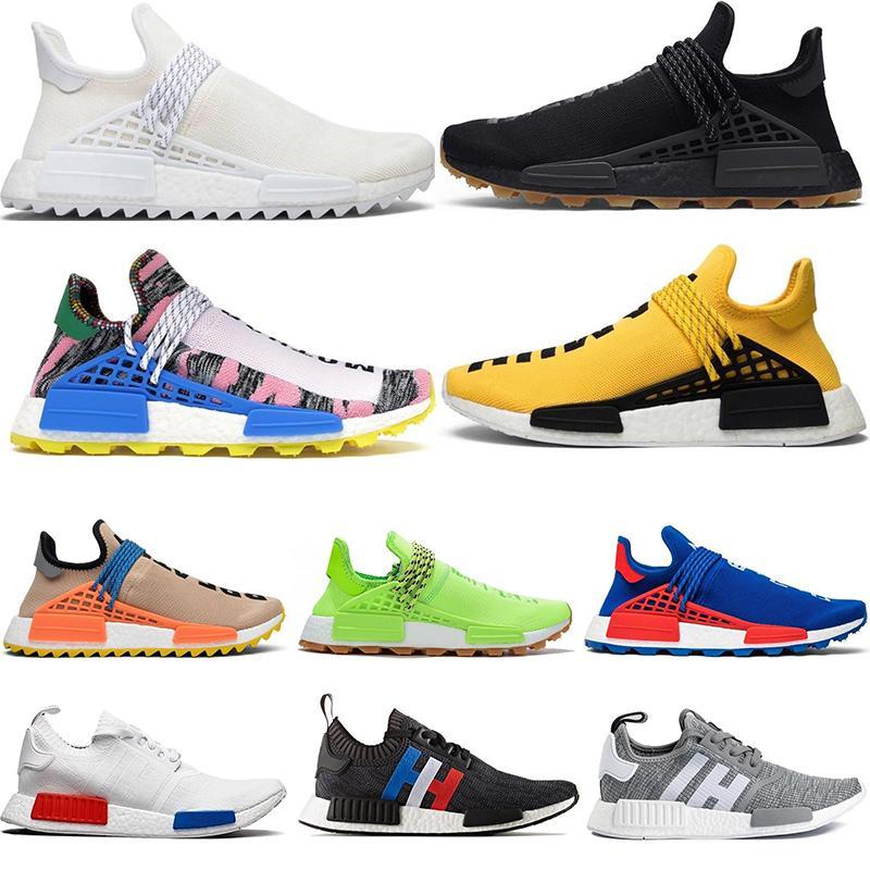 Adidas Razza umana NMD Pharrell Williams Yellow Infinite Specie Cinder BBC solare pacchetto HU Trail Running Shoes Trainer OG Bred Sport scarpa da tennis
