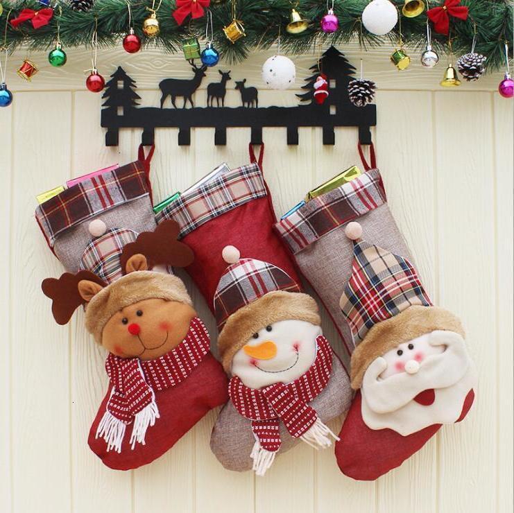 3d Christmas Stocking Santa Sack Snowman Decoration Reindeer Candy Bag Gift Pendant Drop Ornaments Decorations for Home Lxl444 8iu5