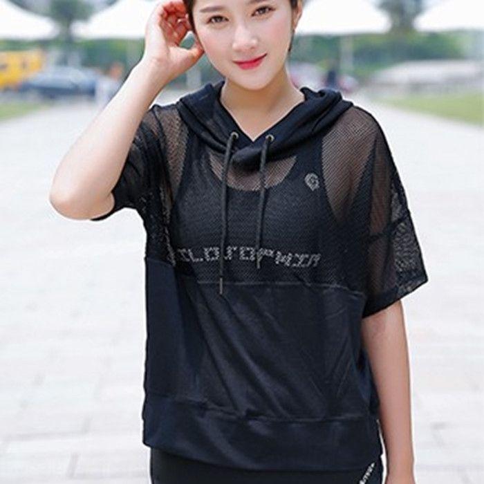 malla de primavera y el verano nueva hueco-hacia fuera de manga larga formación de las mujeres ropa de deporte corriendo flojo superior 4oiVm S ropa blusa ropa s 4Rhps