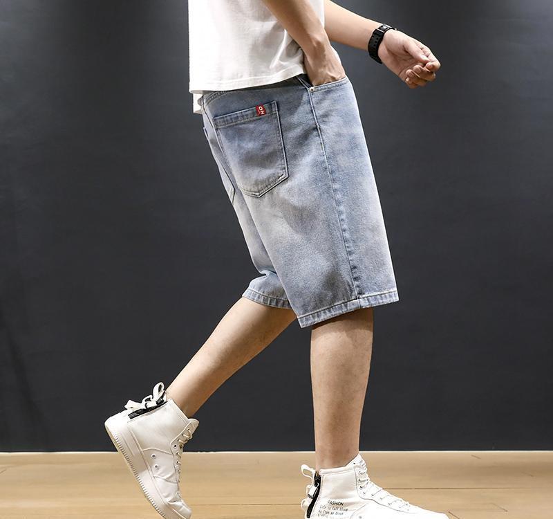 Neu Sommer-Modedesigner kurze Jeans Men Light Blue Loose Fit Weinlese-einfache Jeans-Shorts Hombre Hip Hop Jeans Shorts Männer
