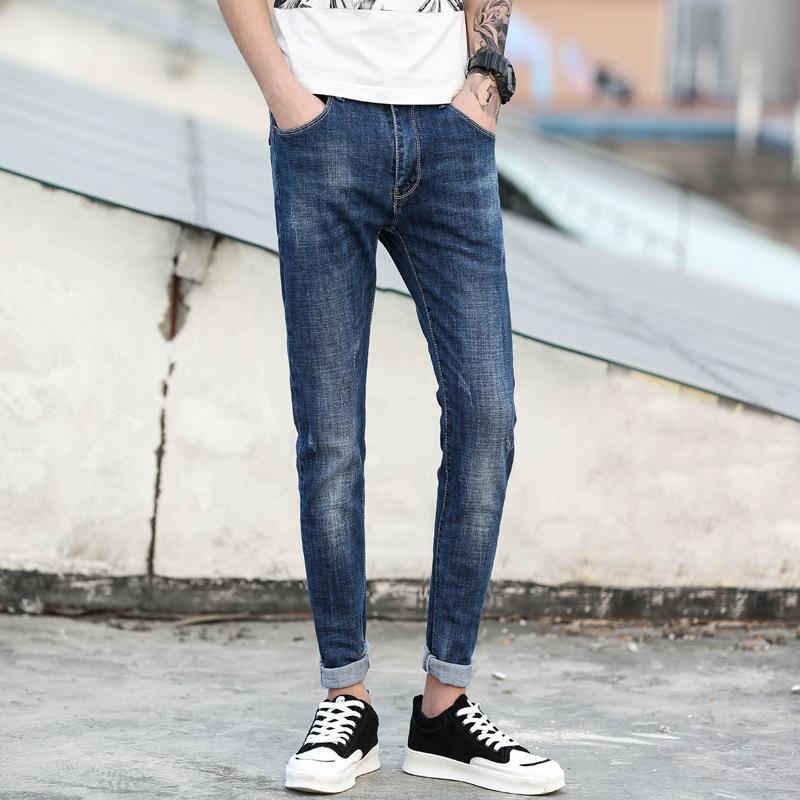Плиссированные летние мужские джинсы бренда синий тонкий Fit Denim джинсы рваные пят пыхтение Homme Plus Size