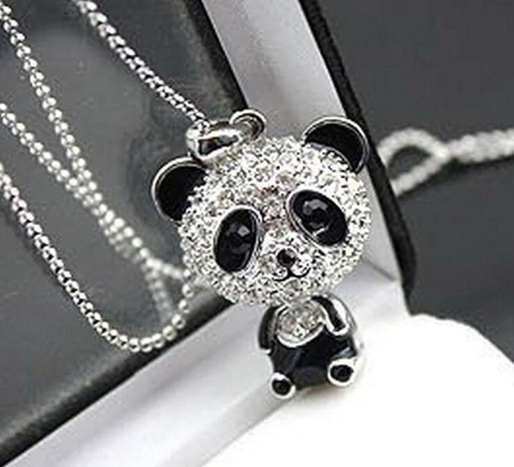 2020 new Really nice!Shiny necklace!!shiny rhinestone super charm panda necklace jewelry Cute awesome panda pendant necklaces wholesale