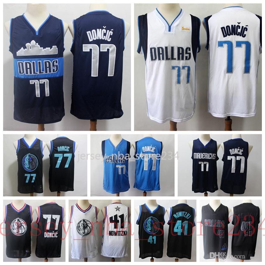 Mens 77 LukaDoncic Stadt Navy Version Jahrgang 41 DirkNowitzki VancouverDallasMavericksLuka Doncic Basketball Jersey