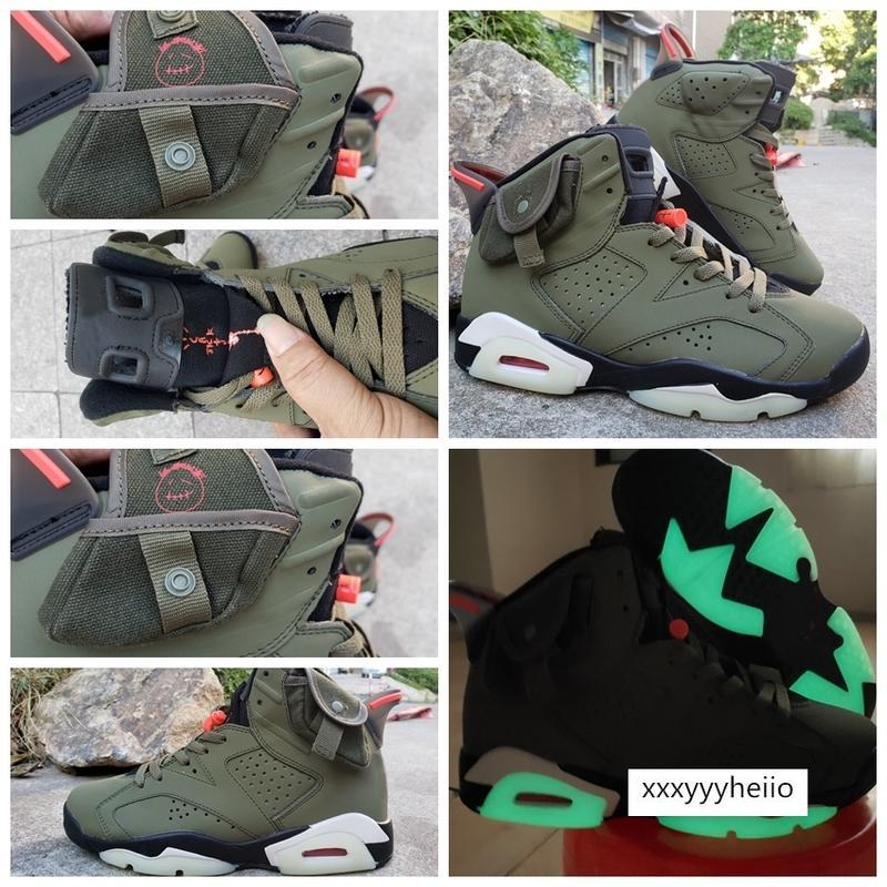 Travis Scotts x 6 zapatos de baloncesto del Mens Cestas 3M TS verde oliva zapatillas Tinker Cactus Jack jumpman 6s Formadores des chaussures