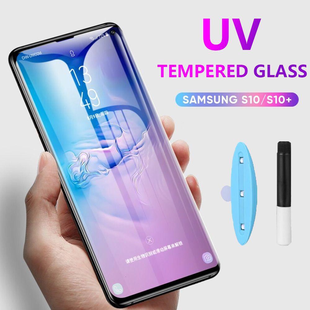 UV Flüssiges Voll Kleber gehärtetes Glas für Samsung-Galaxie S8 S9 S10 S20 Ultra-Note 8 9 10 Plus-Schirm-Schutz-Volldeckung ohne Paket