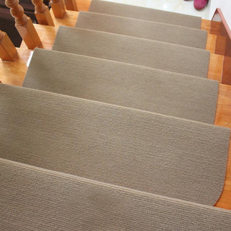 Auto-adesivo Anti-Slip Adhesive escadas etapa Mat carpete cinza escovado Plush tapete da sala macia Stairway lavável Floor Mats