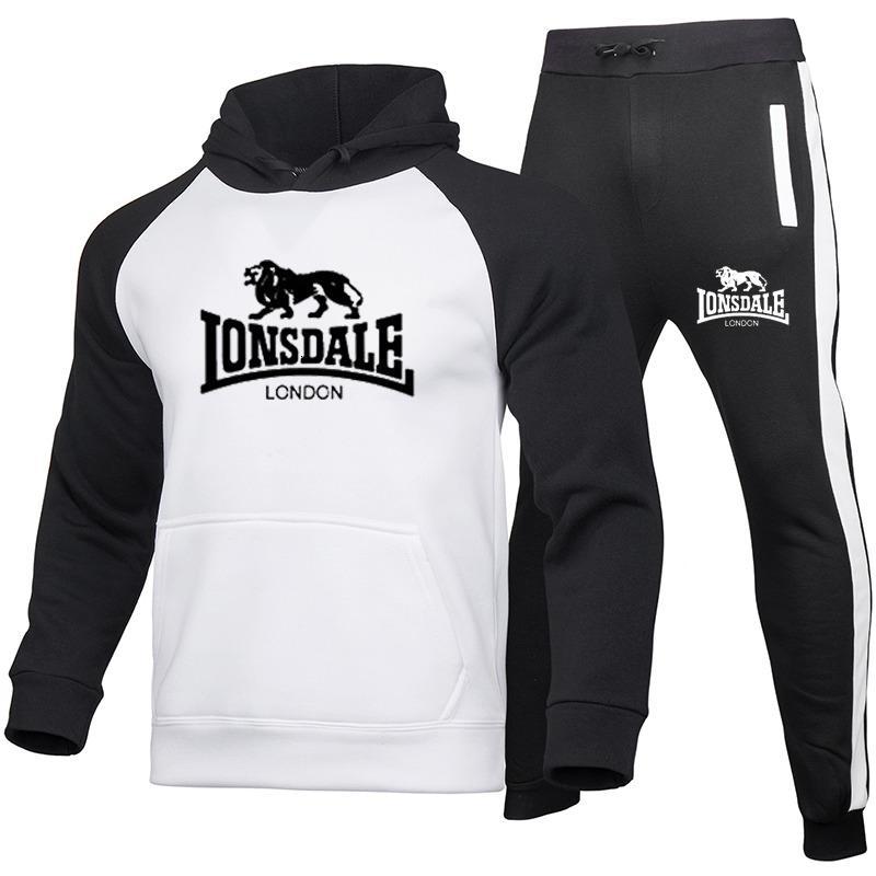 LONSDALE Mode Brief Sport Männer Kapuzen Trasuit Männer / Frauen Sweatshirt + Sport-Hosen Herbst / Winter-mit Kapuze Trasuit