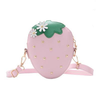 Meninas Moda Verão Crossbody Bag Morango bonito Forma Bolsa de Ombro com Cor Viva Crianças Crianças