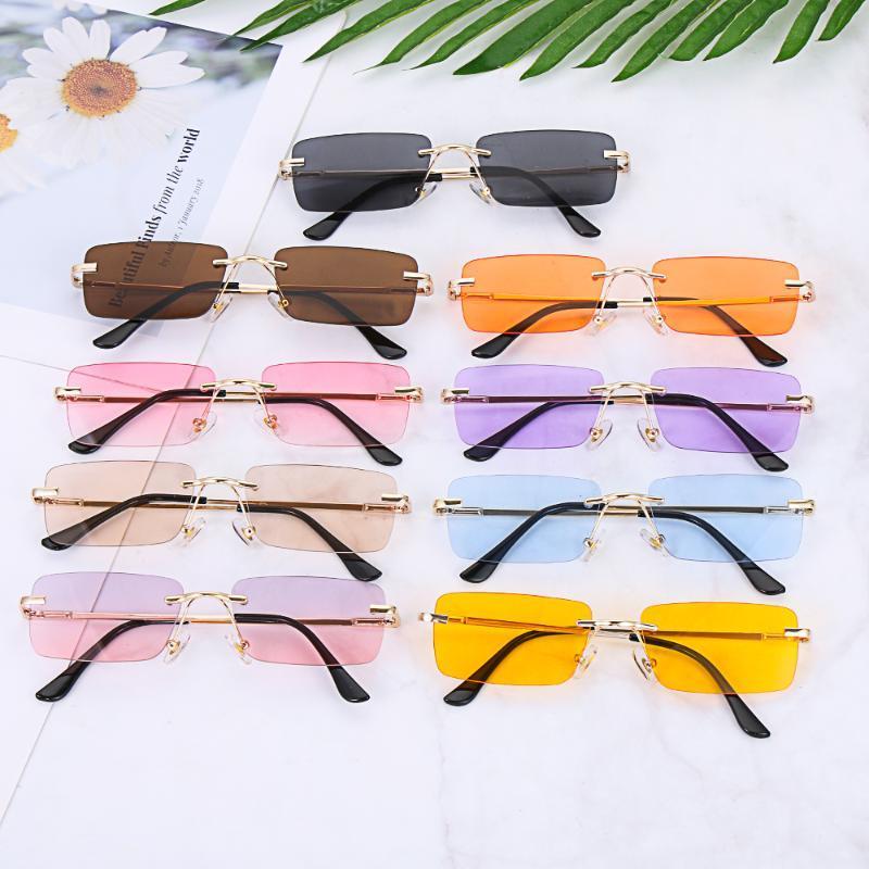 NEW 2020 Frauen Vintage-Sonnenbrillen Mode Rechteck Randlos Sonnenbrille Unisex Retro Gradient Brillen UV400 Luxuxentwurf