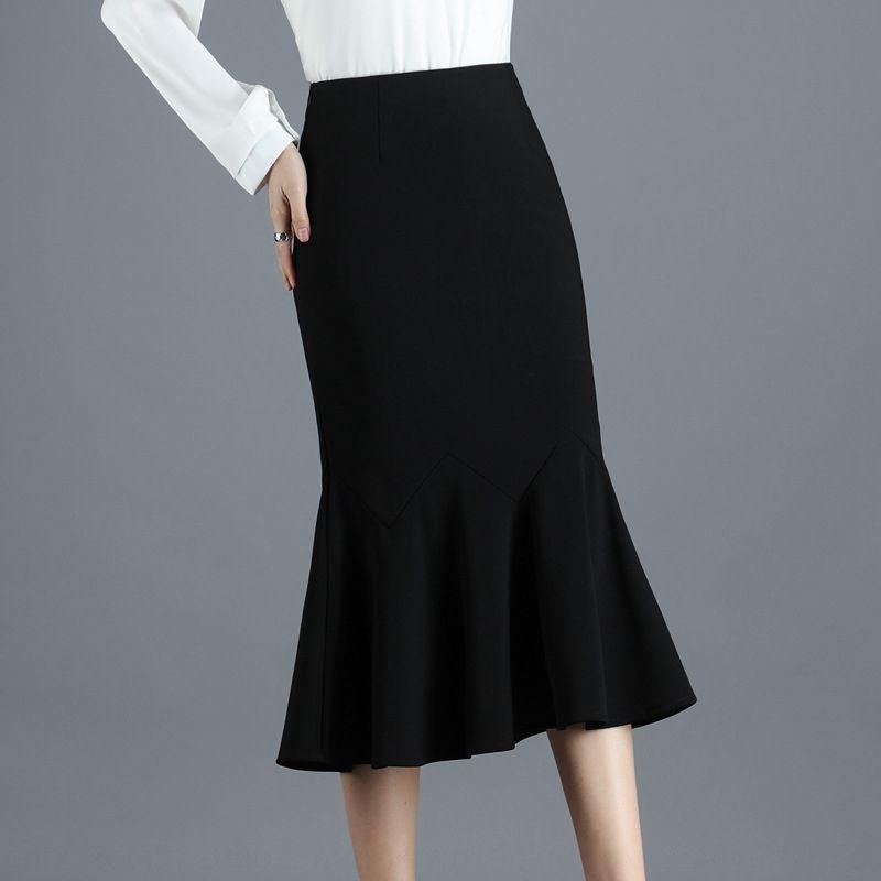 2020 ropa de adelgazamiento elástica suelta de primavera y otoño nueva de longitud media de las mujeres de gran cola de pez de cola de pescado de la cadera swing de falda del todo-fósforo falda