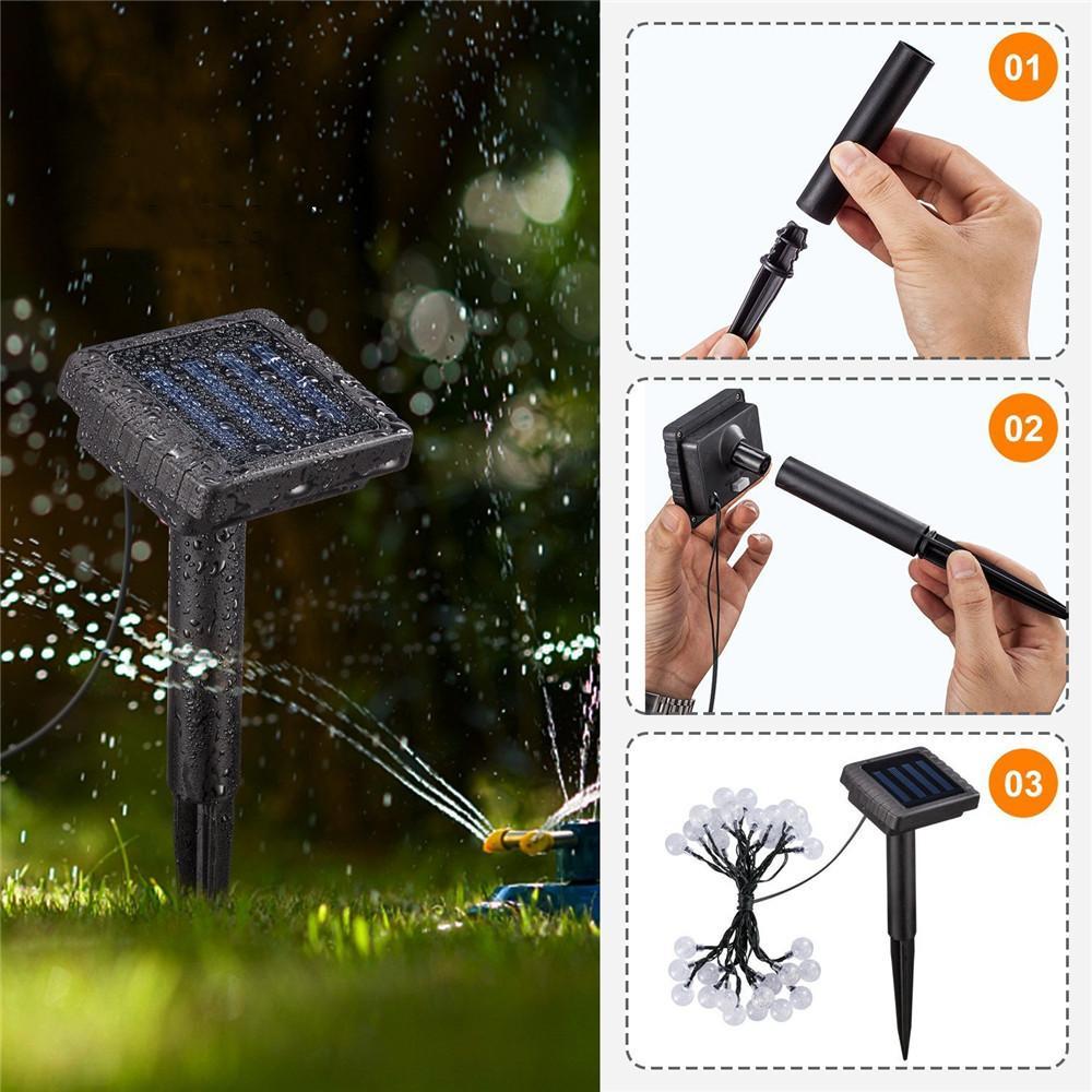 7M 50LEDs Solar-Lichterketten LED Solar-Globe-Fee-Garten-Lampe Kristallkugel im Freien wasserdichten Solarbetriebene Schnur-Licht-Dekor