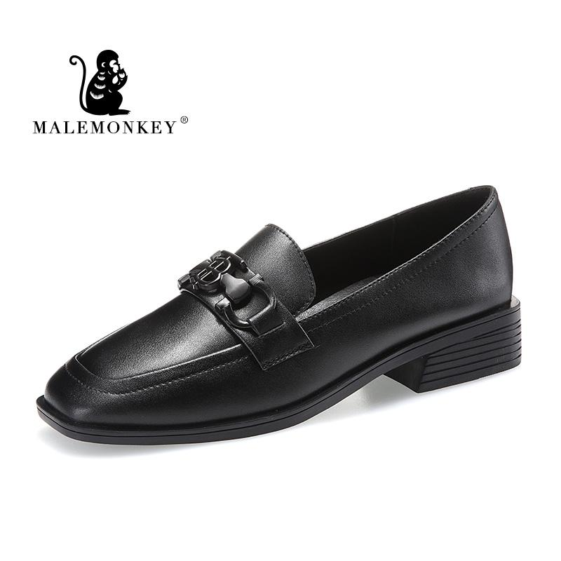 Zapatos de mujer de moda retro de las mujeres ocasionales de cuero Oxford zapatos de la oficina de Brown Negro clásico plataforma cuadrada