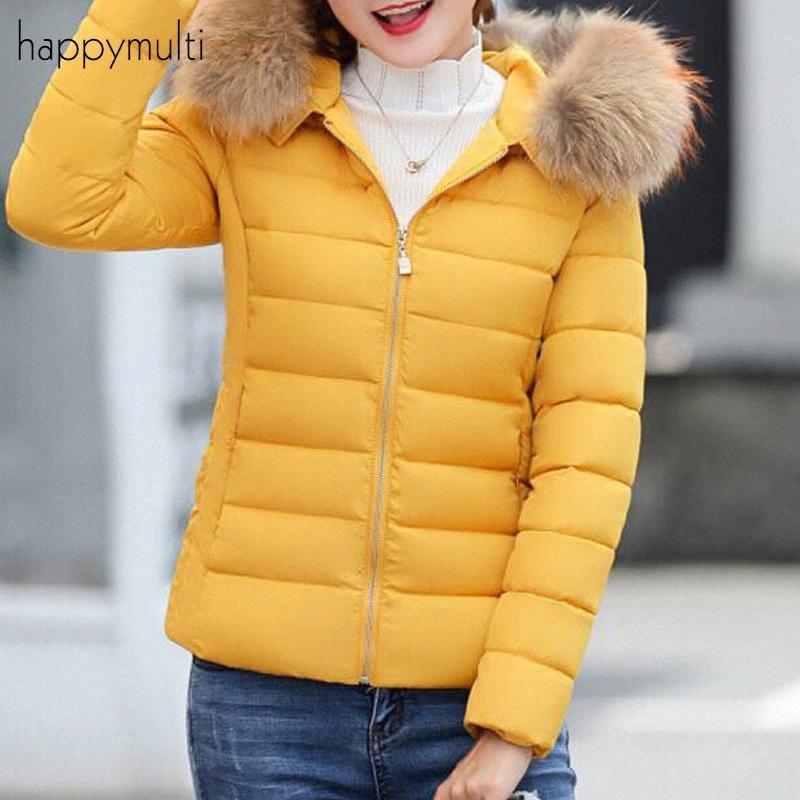 Jacket Feminino Happymulti Casual Magro Patchwork bolsos gola de pele com capuz cor sólida manga comprida Tamanho Grande Inverno Mulheres Parka yLdt #