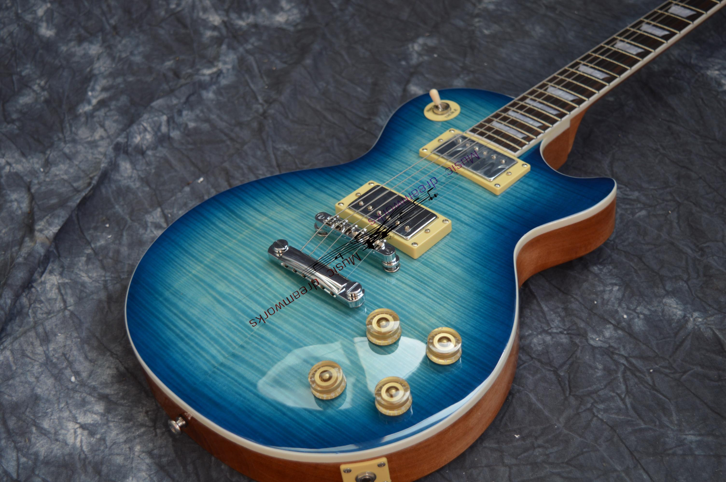 China E-Gitarre OEM Geschäft LP Standard-E-Gitarren-Himmelblau gradien Farbe Les VOS 6 Saiten Elektro-Paul-Gitarre