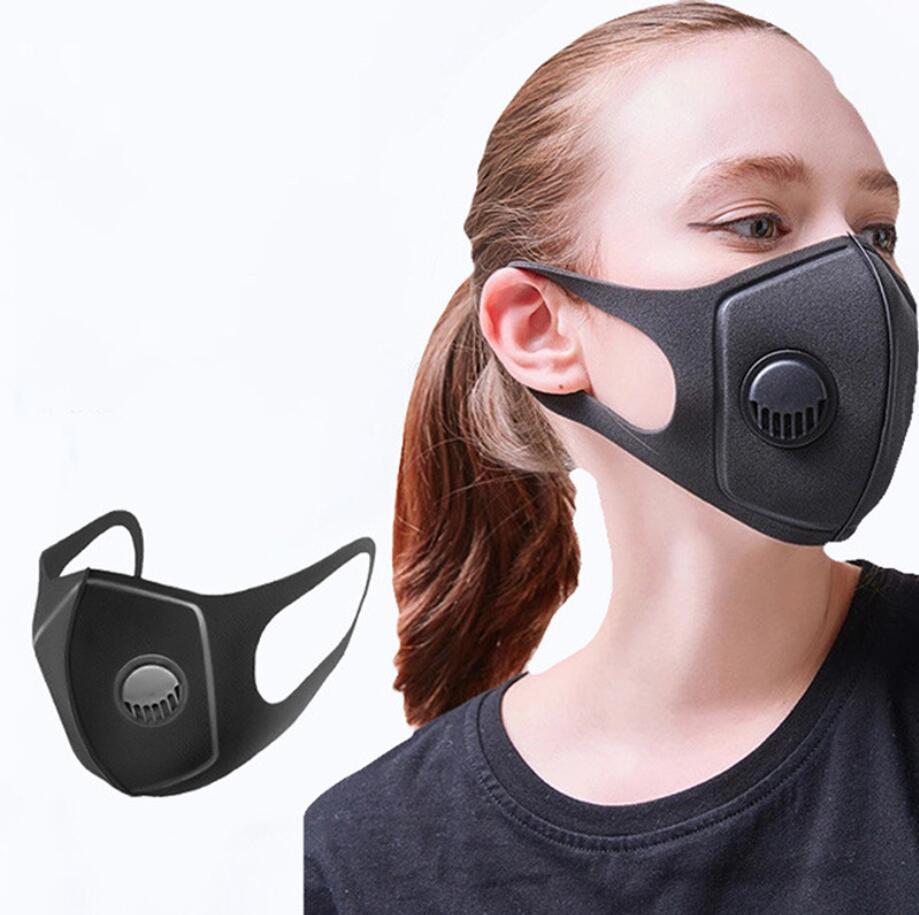 Máscaras válvula negra PM 2,5 respiración reutilizable Anti-alérgicas Máscaras bucales anti-polvo contaminación anti máscara de tela Máscara lavable