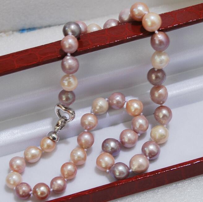 "Charming 10-11mm natürliche Multicolor Barock Edison Perlenkette 18"" 36"""