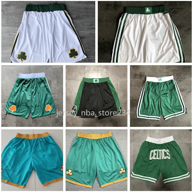 2020 BostonCelticsJersey JUST DON 2020 Basketball Shorts Tatum Brown Walkernba Stitched Pocket Shorts Sweatpants S-XXL