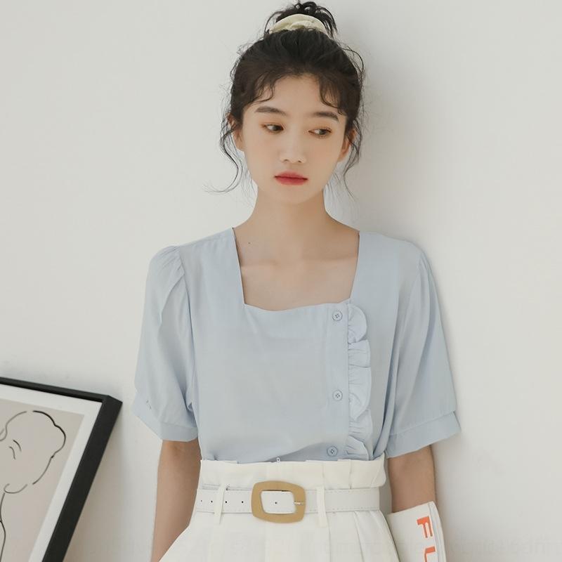 wd1mJ 2v33D 2020 Estate camicia coreana nicchia semplice tutto-fiammifero di disegno temperamento stile senso di legno orecchio laterale petto sh piazza a maniche corte c