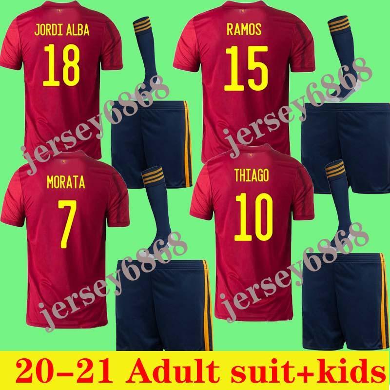 2020 İspanya Jersey ev Futbol Forması 2021 Alcacer ASENSIO Morata ISCO INIESTA SAUL Yetişkin takım elbise ve çocuklar Spor Futbol gömlek kiti