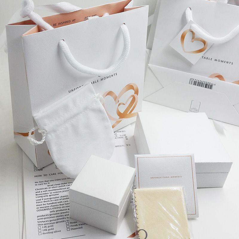 Caixas de Jóias Super Qualidade amante Corações Moda Embalagem definido para os encantos de Pandora Presente Womens caixa de pulseira de prata Anéis Original sacos