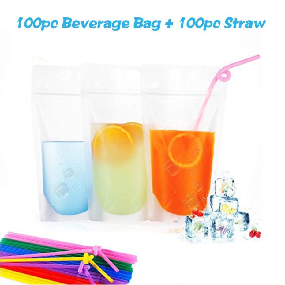 Transparent Self-sealed Plastic Beverage Bag Drink Milk Coffee Container Drinking Fruit Juice bag Food Storage Bag + Free straws