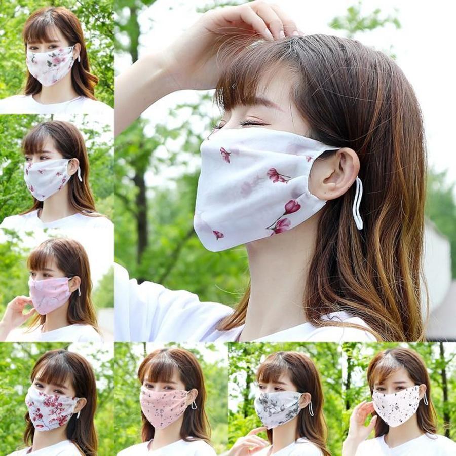 Dame Chiffon Blumendruck Gesicht Sommer Sonnenschutz Wiederverwendbare Mundschutz waschbare atmungsaktiv Outdoor-Masken Maske DDA340