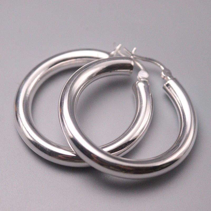 Gerçek S925 gümüş küpe Kadınlar Luck Yuvarlak Hoop Küpeler 36mmW İyi Hediye