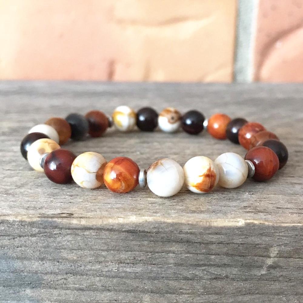 MG0911 8 MM Природный Огонь Агатовые браслет Отрицательный браслет защиты Энергия высокого качества духовность Медитация Jewelry