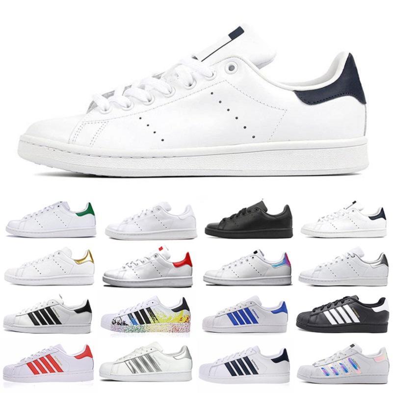 الأزرق الداكن بيع ستان سميث سوبر ستار أحذية الرجال عارضة النجوم الهولوغرام جلدية الموضة حذاء لوحة-FORME الرجال النساء أحذية رياضية SCARPE الرياضية