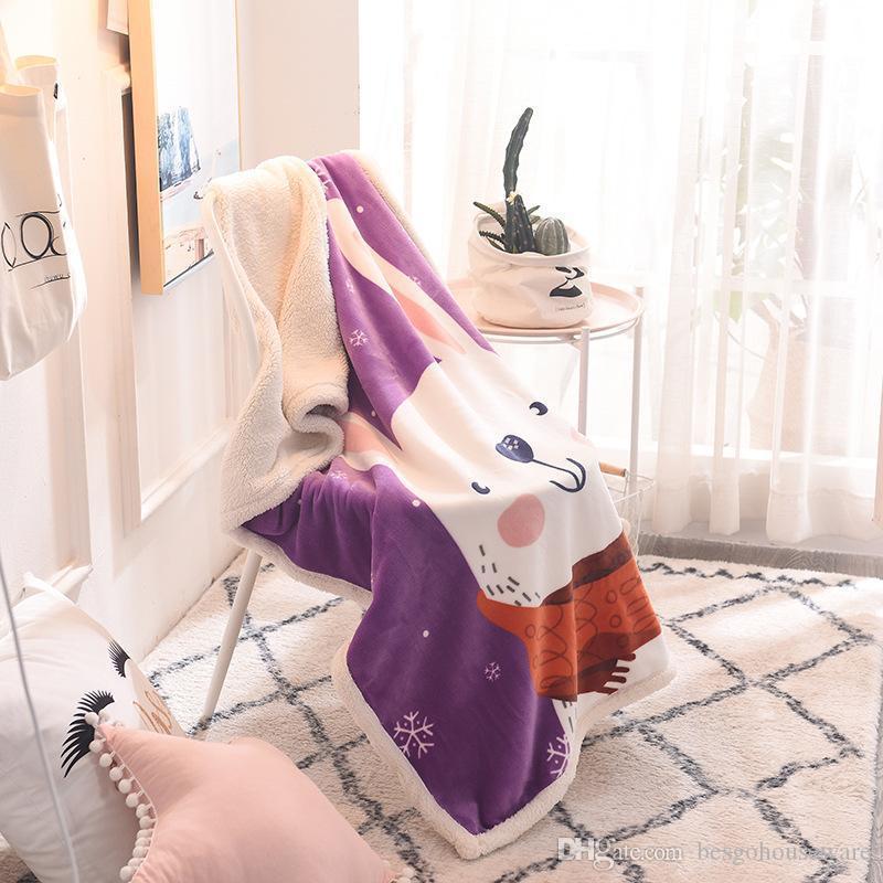 18 Stil 100 * 140 cm Battaniye Kış Çocuk Karikatür Ayı Flamingo Sıcak Çift Katmanlı Kaşmir Fanila Sıcaklık Yumuşak M.Ö. BH0674