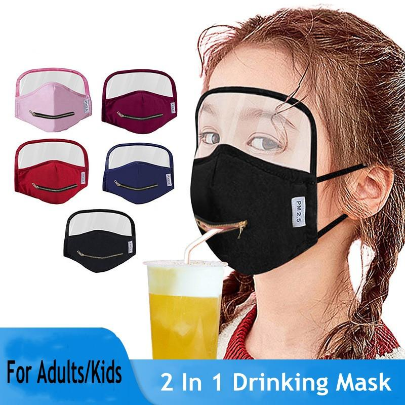 2 in 1 Drinking Mask With Eye Shield Adults Kids Eye Shield Protective Face Masks Party Mask Windproof Anti Dust FY9172