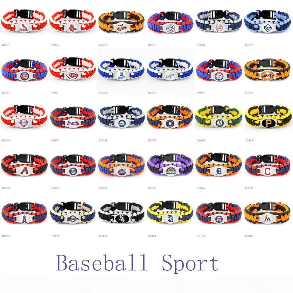Whoelsale 30pcs Set Baseball-Sport-Team-Logo-Baseballteam Paracord Überlebens-Armband Freundschaft Outdoor-Camping-Sport Parachute Rope