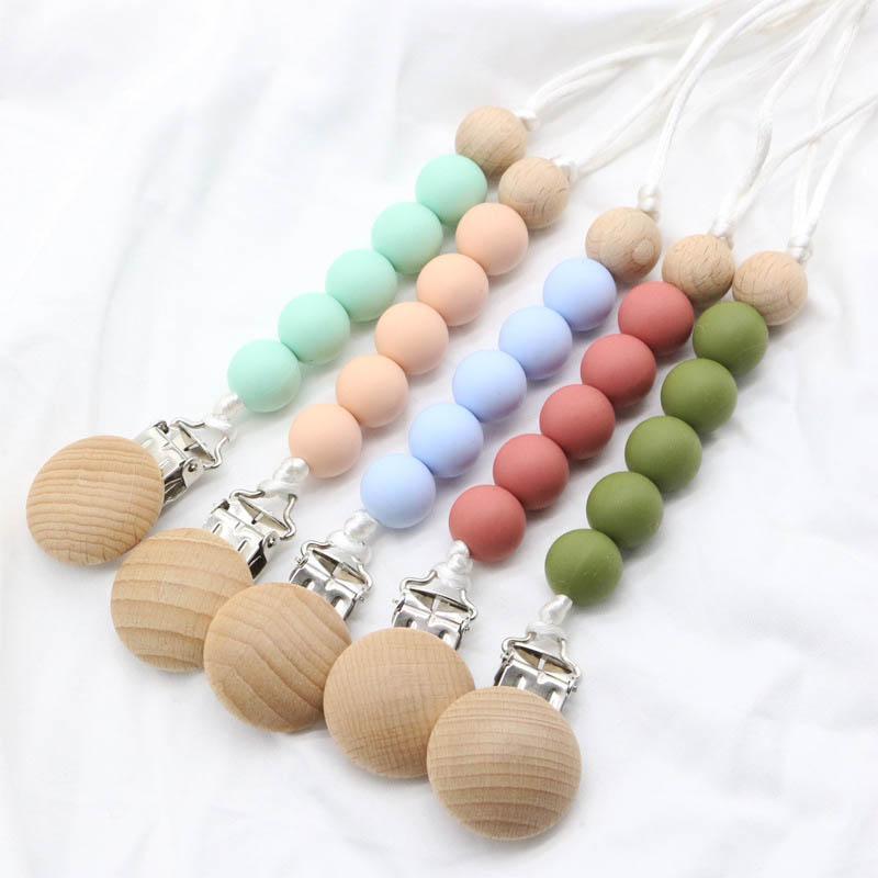 IN Baby-Schnuller Clip Silikon-Halter newborn Kette Clips Baby Beißring Silikon Zahnen Perlen-Baby Zahnen Kinder Spielzeug