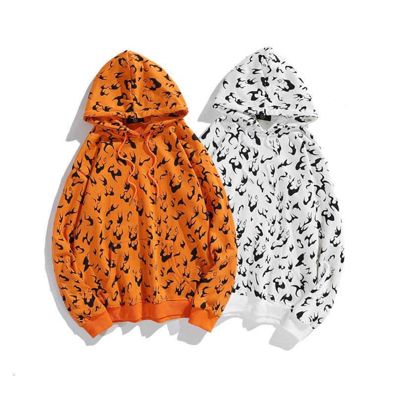 2020 automne et en hiver la mode nouvelle marque hommes l'impression de flamme et de couple des femmes occasionnels chandail à capuchon CYST