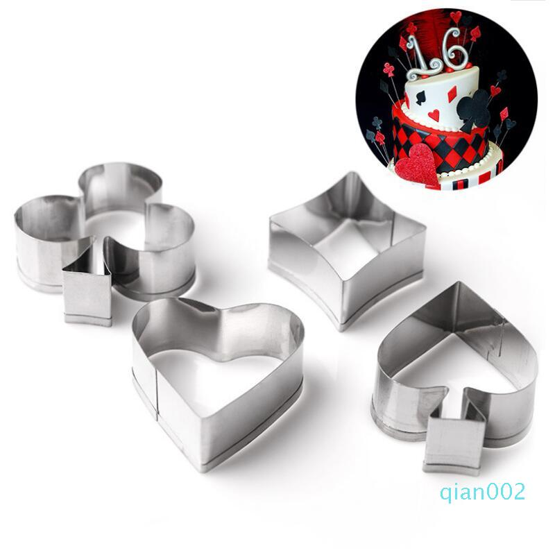 Poker Shaped Cookie Mold Party Baking Cookie Cutter Set Metal Cake Moulds Fondant Kitchen Christmas Decorating Tools