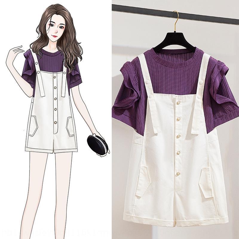 İnternet ünlü yaş azaltıcı zayıflama Sling sapan askı elbise Batı Tarzı Yaz 2020 Yeni gevşek moda küçük iki parça bir takım mJoCl m