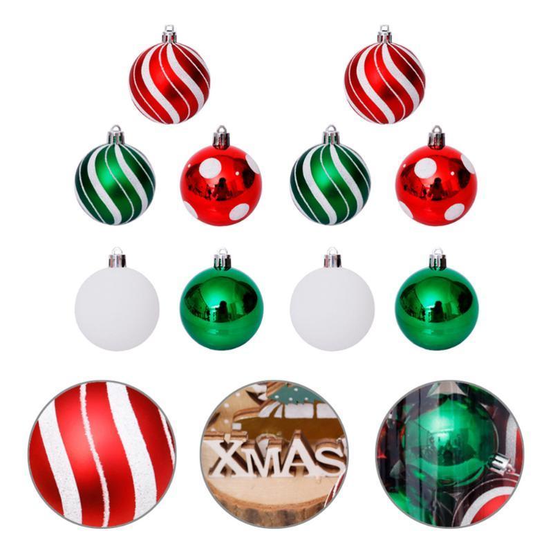 30pcs de Navidad decoración del árbol de dibujo coloreadas de la bola de la decoración del hogar (verde + rojo)