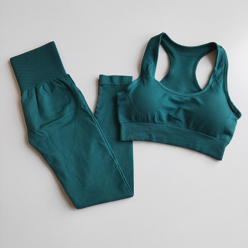 Yoga Outfits Seamless Set Workout Clothes For Women Padded Sports Bra+Sport Leggings Outfit High Fitness Gym Suits