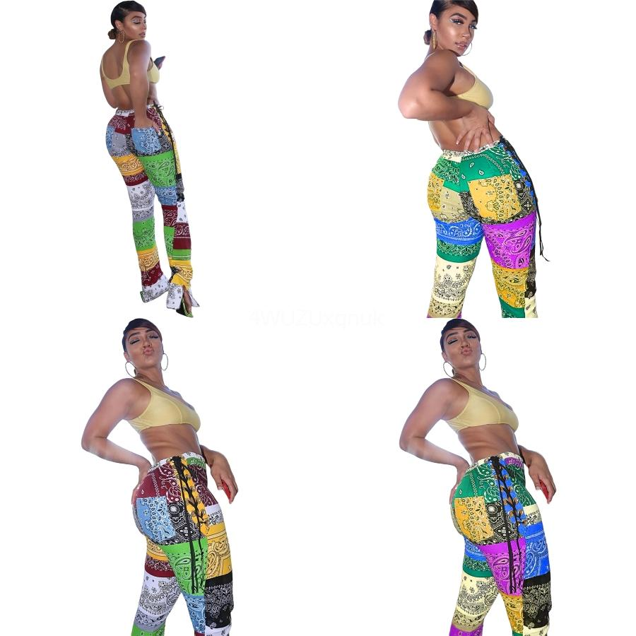 2020 Pantalones Dropshipping libre precioso remiendo de la manera de Paisley con tiras de Split Sexy Negro caliente mirada mojada de cuero de imitación polainas delgadas Shi pantalones # 573