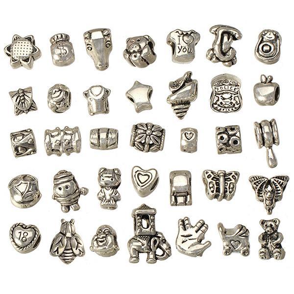 european Mix Perlen für Armbänder DIY Set Metall großen Loch antiken Silber Handwerk neue Art und Weise Lieferanten Schmuck Zubehör 160pcs