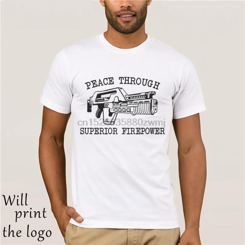 Para hombre de la paz potencia de fuego superior de la camiseta - camiseta divertida de ciencia ficción extranjero retro
