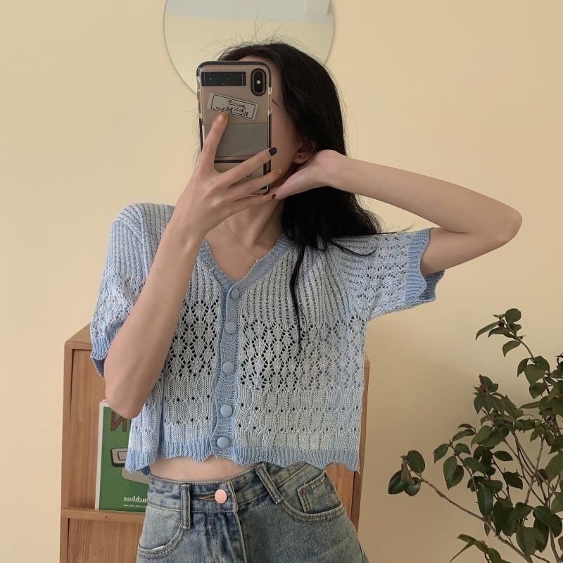 topo V-neck verão de manga curta Vestuário feminino 2020 saia nova oca-out saia curta estilo short slim fit coreano fina zkHrp