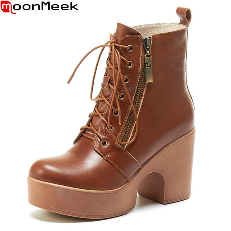 2020 Nuovi pattini donne di arrivo stivali signore MoonMeek cuoio genuino di stivaletti pattini spessi piattaforma dei talloni di moda marrone nero