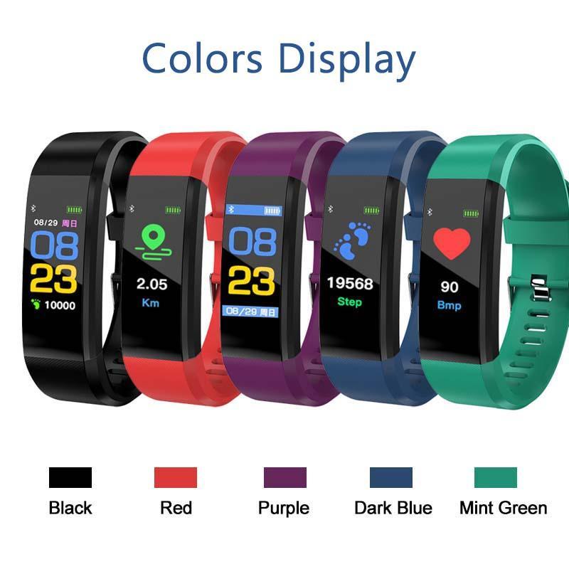 الضغط لون الشاشة ID115 زائد الذكية سوار للياقة البدنية المقتفي مقياس الخطو حزام معدل ضربات القلب والدم مراقب الذكية الاسورة