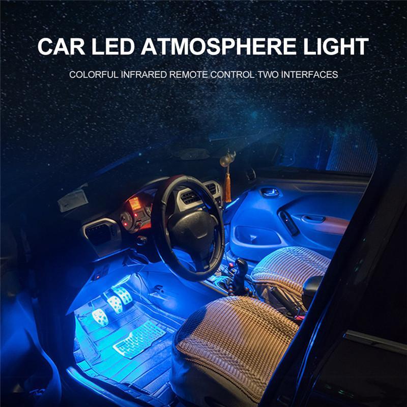 Un pour quatre voitures RGB LED Light Strip Couleurs Car Styling décoratif Lampes ambiance à commande vocale Rhythm Accessoires