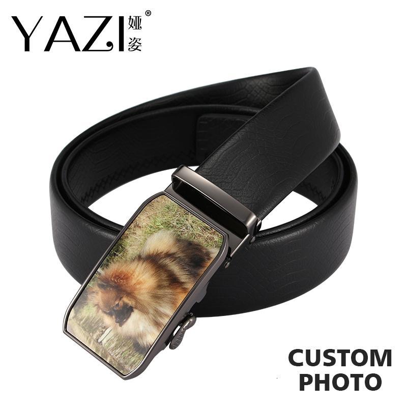 Cintos de couro genuíno adultos Belt Cow Luxo de Yazi Diy Homens Foto Cintas Marca Imagem Automatic Preto Fivela para Homens