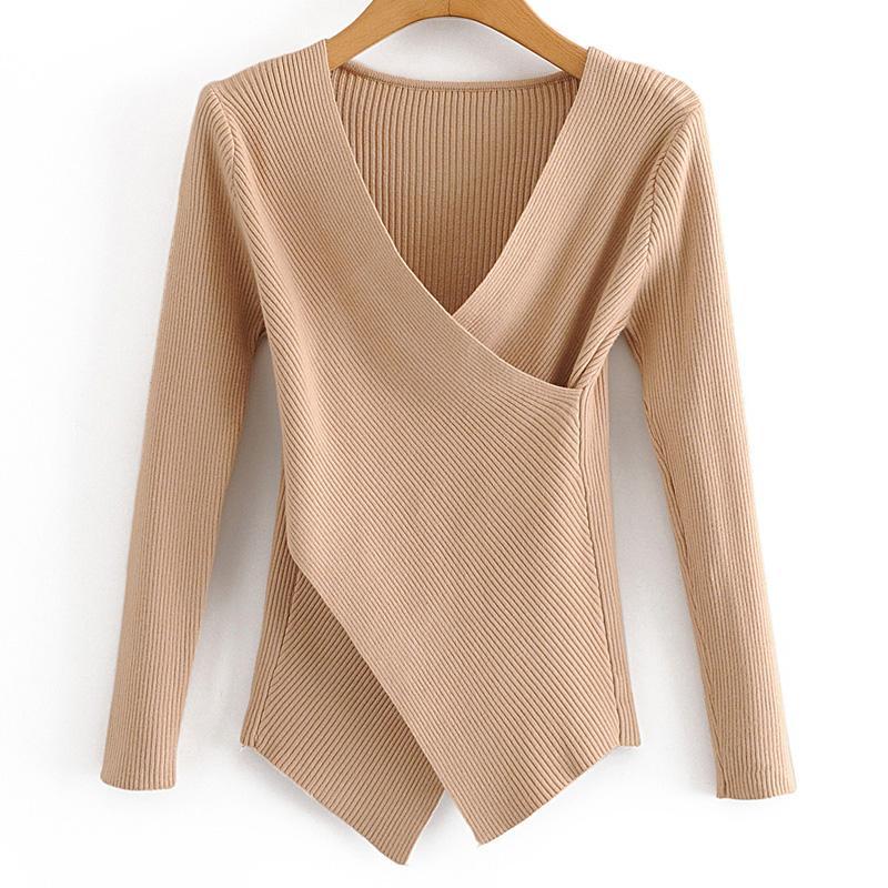 ZOEPO slim V Neck Blusas Mulheres Moda irregular Criss Cross Sweater mulheres elegantes manga comprida feminina blusas senhoras HT