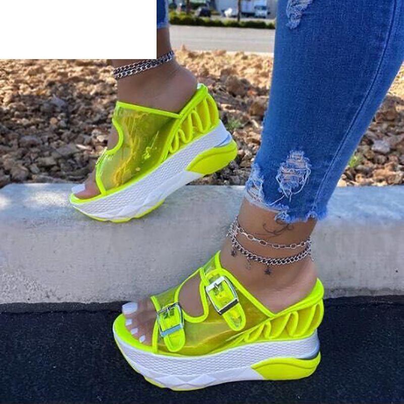 Sandalen 2021 Mode Sexy Sommer Wedge Ferse Frauen Super High Open Toe Transparente Farbe Plus Größe Frauen 35-43