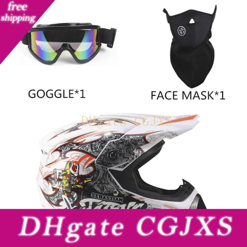 Capacete completa Rosto Motorcycle Racing Segurança respirável Unisex leve Abs Shell Moto Capacete única 3pcs