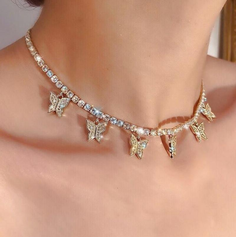أزياء المرأة مجوهرات فراشة قلادة أنثى حجر الراين الساطع بيان السحر كريستال المختنق قلادة هدية